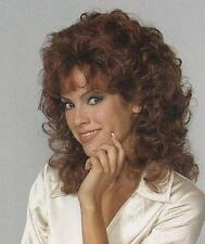 Shoulder length Curly Auburn Wig Layered w/ Bangs Natural Breezy Cap Easy Style