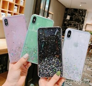 Case For iPhone 11 12 Pro Max XR 7 8 Plus XS SE Glitter Silicone Hard Cover