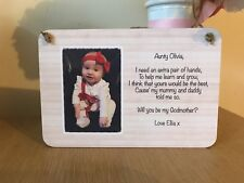 Personalised Will You Be My Godparent Gift Photo Christening Wooden Plaque
