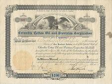 Virginia 1910 Columbia Cotton Oil & Provision Corp Stock Certificate