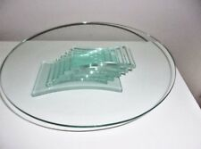 """PartyLite Stratus 3 Wick Candle Holder Centerpiece Green Glass P7725 - 11""""W"""
