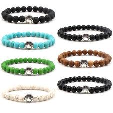 8mm Dog Foot Bracelet Naturl Black Lava Stone Women Men Beaded Bracelets Gift