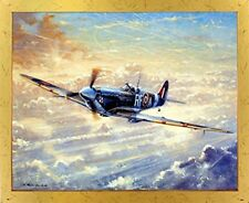 Spitfire Painting Military Airplane Aviation Golden Framed Wall Decor Picture
