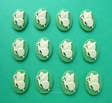 12 Ivory color BUTTERFLY on Green Left Facing (6 pairs) 18mm x 13mm CAMEOS Lot