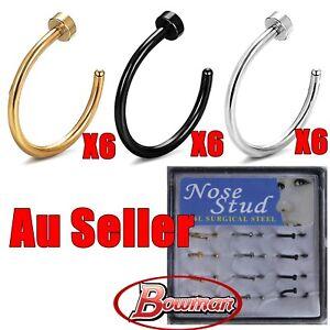 18x Surgical Steel Silver Gold Black Nose Stud Ring Open Hoop Body Piercing bulk