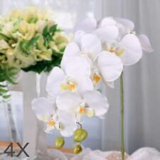 4x Artificial Butterfly Orchid Flower Bouquet Phalaenops Wedding Decor White GA