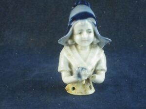 48251 Old Vintage Antique Pottery Figurine Ornament Porcelain Pin Cushion Doll