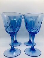 Fostoria Avon American Blue Stemmed Wine Glasses Set of 4