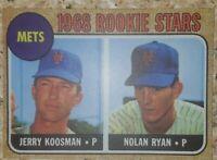 1968 Rookie Stars Nolan Ryan, Jerry Koosman NY Mets  #177. See Description MINT