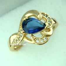 size 6.5 , 7   Woman's Jewelry Sapphire 18k Gold Filled Ring gift r221