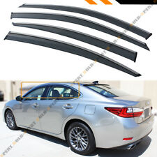 FOR 2013-18 LEXUS ES300 ES350H VIP CLIP-ON SMOKE TINTED WINDOW VISOR CHROME TRIM