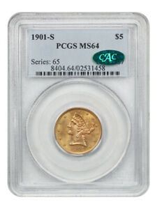 1901-S $5 PCGS/CAC MS64 - Liberty Half Eagle - Gold Coin