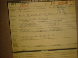 INTERNATIONAL 1973  TRUCK #1210 Vintage Historical Document, Nebraska Auto Title
