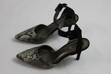 Women's Ann Taylor Loft strappy Ankle slip on Heels pumps 8.5M w/ Animal print