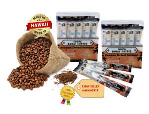 100% Instant Kona Coffee Freeze Dried 20 Single Serve sachet - Hawaii Selection