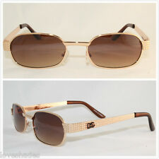 New Mens DG Sunglasses Fashion Rectangular Designer 80s Shade Vintage Nerd Gold