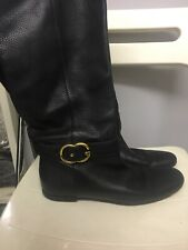 GUCCI Italy Designer Black Leather GG Buckles Ladies Tall Boots Flat Size 7 40