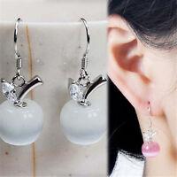 Women Fashion Silver Cute Crystal Rhinestone Apple Pendant Dangle Earrings JP