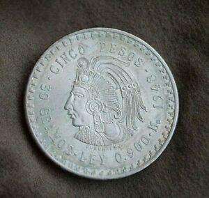 Mexiko 5 Pesos 1948 Silbermünze - Häuptling Cuauhtemoc |296.1.41
