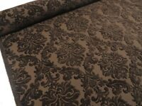 Dark Brown Damask Luxury HEAVYWEIGHT Chenille Velvet Upholstery Curtain Fabric
