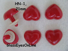 12 Pc. 21mm  RED HEART Plastic Safety NOSE, BUTTON, EYE puppets,  teddy bears,