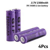 4x Rechargeable GIF 14500 Li-ion Battery 3.7V 2300mAh For Flashlight Headlamp 1