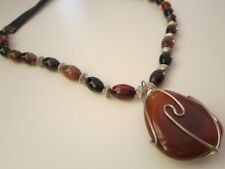 Beautiful Necklace Natural stone Agate ONLY ONE Length 52cm+agate 4cm PRICE CUT!