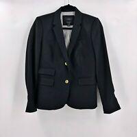J. Crew Womens Schoolboy Black Blazer Jacket Size 4  Wool