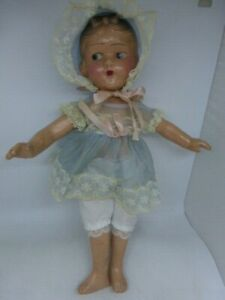 "Vintage Antique 30's Composition Snow White 13"" Doll Bow On Head w Baby Clothes"