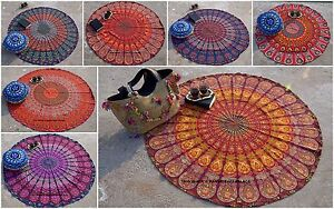 Indien Rond Tenture Tapisserie Murale Paon Mandala Hippie Gypsy Tapis de Plage