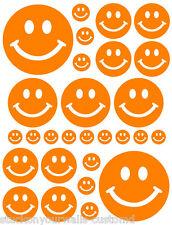 56 ORANGE SMILEY FACE SHAPED VINYL DECAL STICKER TEEN BABY NURSERY BEDROOM WALL