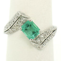 14k White Gold 1.20ctw Colombian Emerald & Pave Diamond Bypass Cocktail Ring