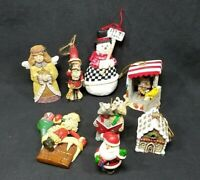CHRISTMAS TREE ORNAMENT SANTA SNOWMAN ANGEL WOLVE GINGERBREAD HOUSE MIX LOT 2-4""