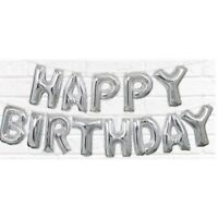Silver Happy Birthday Balloon Letters Foil Banner Party Airfill Only No Helium
