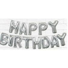 Unique Party 53680 - Foil Silver Happy Birthday Letter Balloon Banner Kit