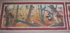 "Autumn Animals Forest Scene Scarf 1975 National Wildlife Federation 53"" x 12.5"""