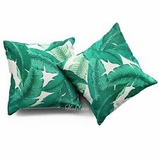 Cushion Cover HEAVY WEIGHT Cotton Linen Modern Tropical Banana Palm Leaf Set of2