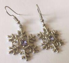 A Plum UK White Gold GF & Amethyst Christmas Winter Snowflake Earrings RRP £20!