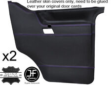 PURPLE STITCH 2X FRONT DOOR CARD LEATHER COVERS FITS VW T4 TRANSPORTER CARAVELLE