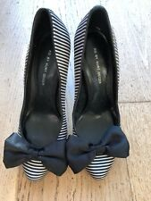 Gorgeous Black/White Striped Heels With Bows From Kurt Geiger - Sz 6
