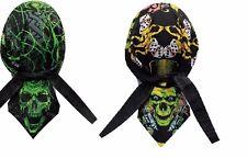 Lot 2 Biker Green Skull Du Doo Rag Mens Head Wrap Hat Cap Bandanna Capsmith New