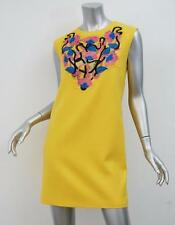 CHRISTOPHER KANE Womens Yellow Floral Lace Embroidered Shift Dress US 10