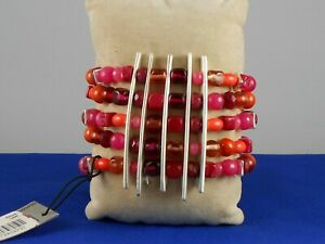 Robert Lee Morris SOHO Silver Plated Sculptural Rose Bead Stretch Bracelet $85
