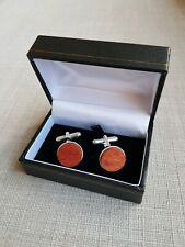 Blood wood and  Silver Plated cufflinks  5th anniversary,Christmas gift