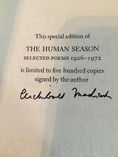 MacLeish,Archibald Signed Limited ED The Human Season,Selected Poems 1926-1972.