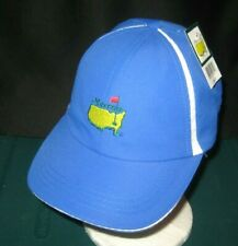 MENS MASTERS TECH FABRIC GOLF HAT,BLUE/WHITE,EMBROIDERED LOGO, ADJUSTABLE SIZE,