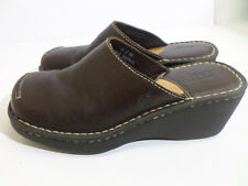 BORN Brown Leather Mules Slip On Casual Loafers Women's Size 8M