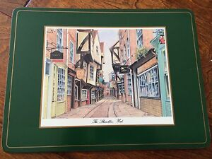 The Shambles, York Pimpernel placemat replacement green cork backed 12 x 9