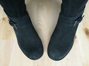 UGG ! WOMENS 5 - 5.5 / 38 / 7 ! BLACK BUCKLE BOOTS BIKER LEATHER SUEDE