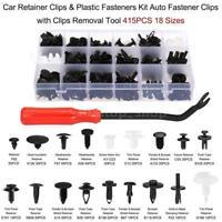 415PCS Car Auto Plastic Push Pin Rivet Bumper Trim Clips Fastener Kit 18 Sizes